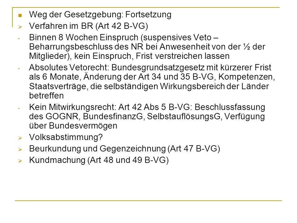 Weg der Gesetzgebung: Fortsetzung Verfahren im BR (Art 42 B-VG) - Binnen 8 Wochen Einspruch (suspensives Veto – Beharrungsbeschluss des NR bei Anwesen