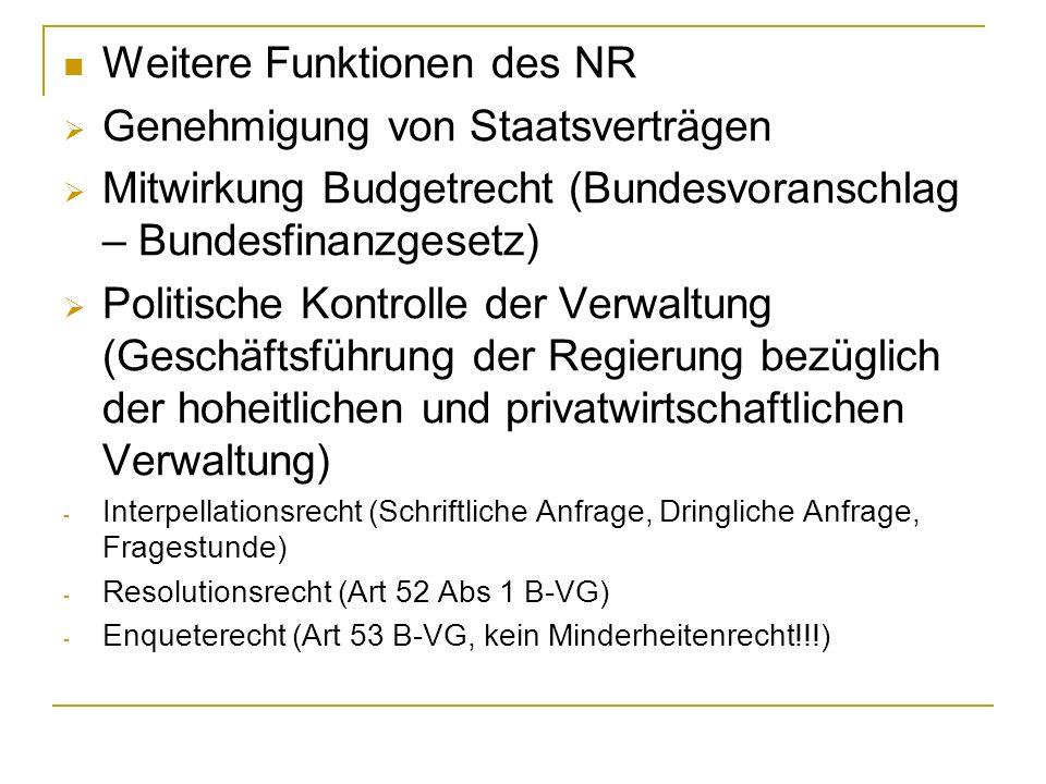 Weitere Funktionen des NR Genehmigung von Staatsverträgen Mitwirkung Budgetrecht (Bundesvoranschlag – Bundesfinanzgesetz) Politische Kontrolle der Ver