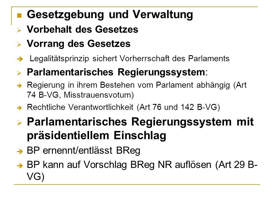 Gesetzgebung und Verwaltung Vorbehalt des Gesetzes Vorrang des Gesetzes Legalitätsprinzip sichert Vorherrschaft des Parlaments Parlamentarisches Regie