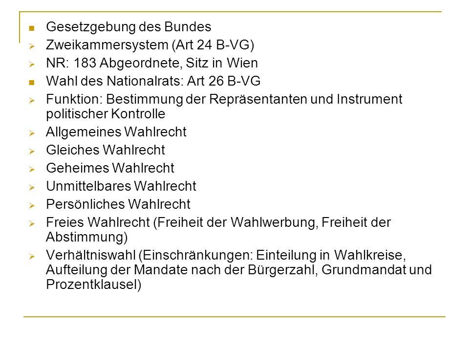 Gesetzgebung des Bundes Zweikammersystem (Art 24 B-VG) NR: 183 Abgeordnete, Sitz in Wien Wahl des Nationalrats: Art 26 B-VG Funktion: Bestimmung der R