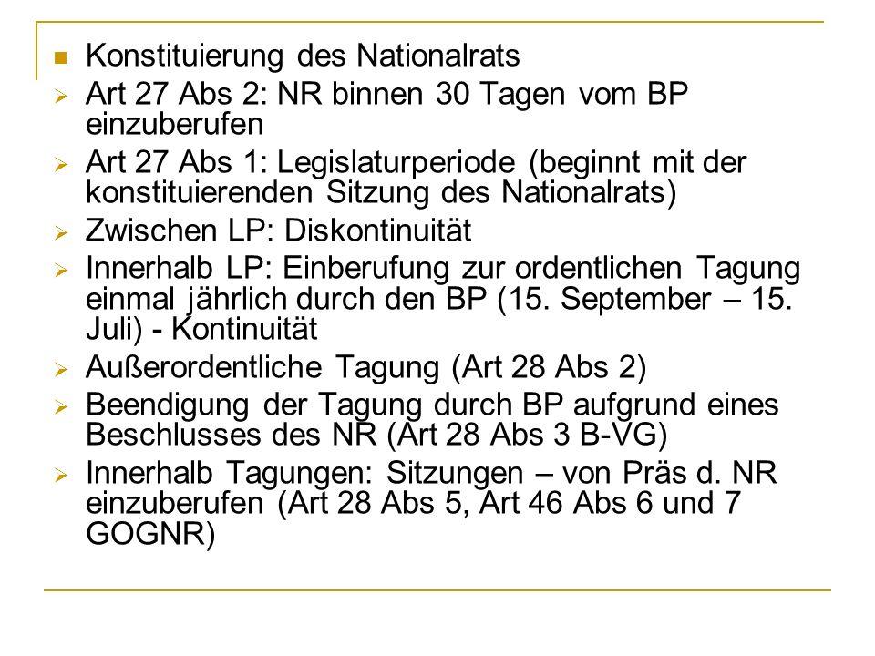 Konstituierung des Nationalrats Art 27 Abs 2: NR binnen 30 Tagen vom BP einzuberufen Art 27 Abs 1: Legislaturperiode (beginnt mit der konstituierenden