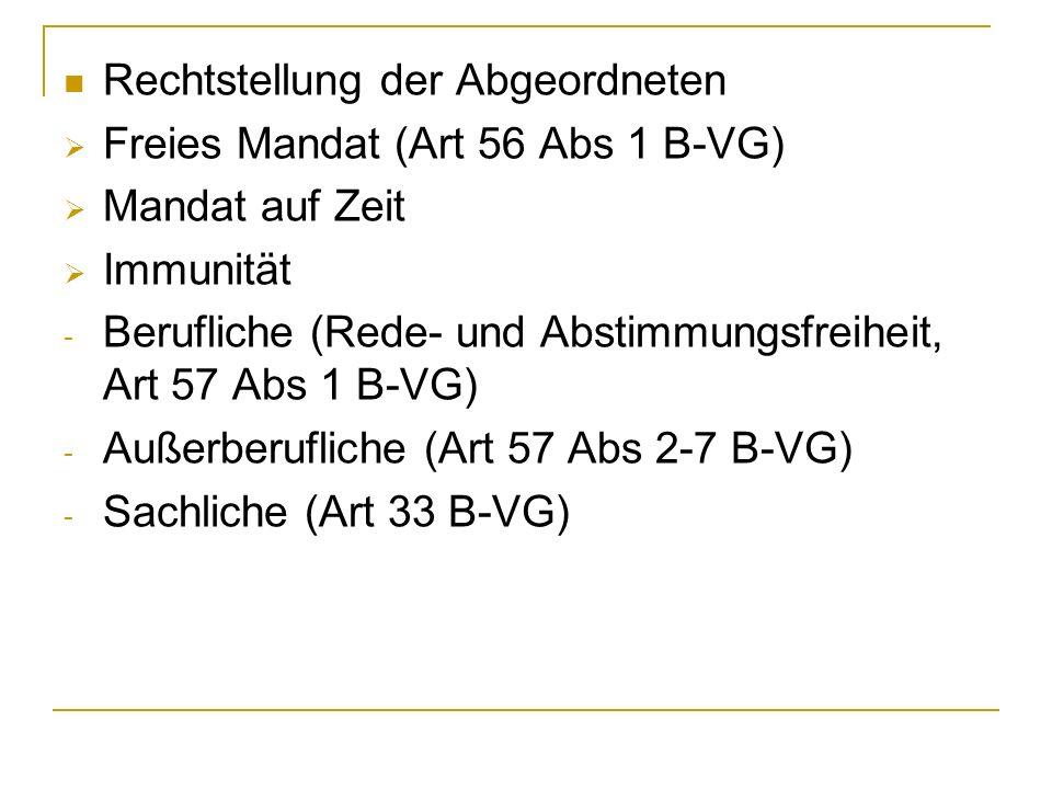 Rechtstellung der Abgeordneten Freies Mandat (Art 56 Abs 1 B-VG) Mandat auf Zeit Immunität - Berufliche (Rede- und Abstimmungsfreiheit, Art 57 Abs 1 B