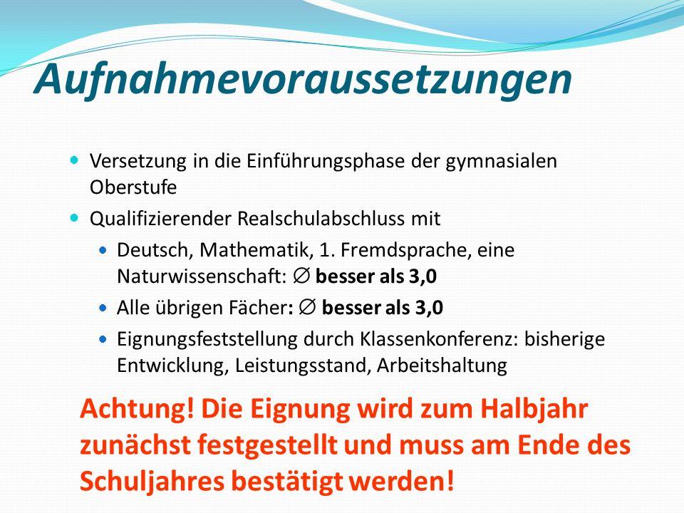 Aufnahmevoraussetzungen Versetzung in die Einführungsphase der gymnasialen Oberstufe Qualifizierender Realschulabschluss mit Deutsch, Mathematik, 1. F