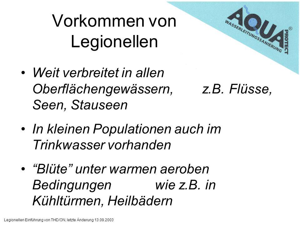 Legionellen Einführung von THD/ON, letzte Änderung 13.09.2003 Vorkommen von Legionellen Weit verbreitet in allen Oberflächengewässern, z.B. Flüsse, Se