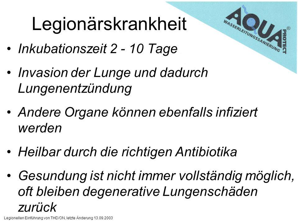 Legionellen Einführung von THD/ON, letzte Änderung 13.09.2003 Legionärskrankheit Inkubationszeit 2 - 10 Tage Invasion der Lunge und dadurch Lungenentz