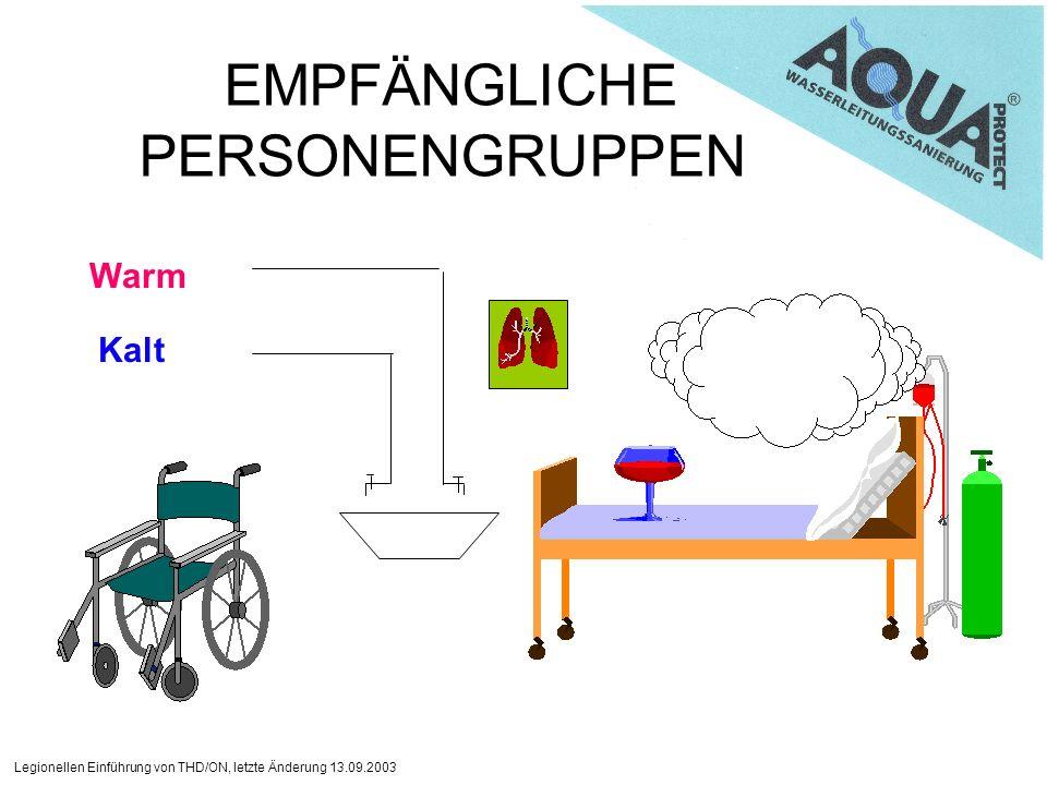 Legionellen Einführung von THD/ON, letzte Änderung 13.09.2003 EMPFÄNGLICHE PERSONENGRUPPEN Warm Kalt