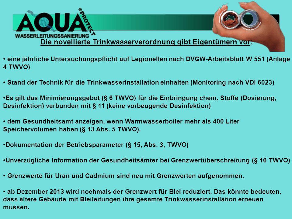 Die novellierte Trinkwasserverordnung gibt Eigentümern vor: eine jährliche Untersuchungspflicht auf Legionellen nach DVGW-Arbeitsblatt W 551 (Anlage 4 TWVO) Stand der Technik für die Trinkwasserinstallation einhalten (Monitoring nach VDI 6023) Es gilt das Minimierungsgebot (§ 6 TWVO) für die Einbringung chem.