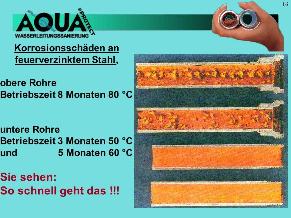 16 Korrosionsschäden an feuerverzinktem Stahl, obere Rohre Betriebszeit 8 Monaten 80 °C untere Rohre Betriebszeit 3 Monaten 50 °C und 5 Monaten 60 °C