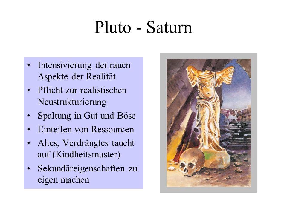 Pluto - Saturn Intensivierung der rauen Aspekte der Realität Pflicht zur realistischen Neustrukturierung Spaltung in Gut und Böse Einteilen von Ressourcen Altes, Verdrängtes taucht auf (Kindheitsmuster) Sekundäreigenschaften zu eigen machen