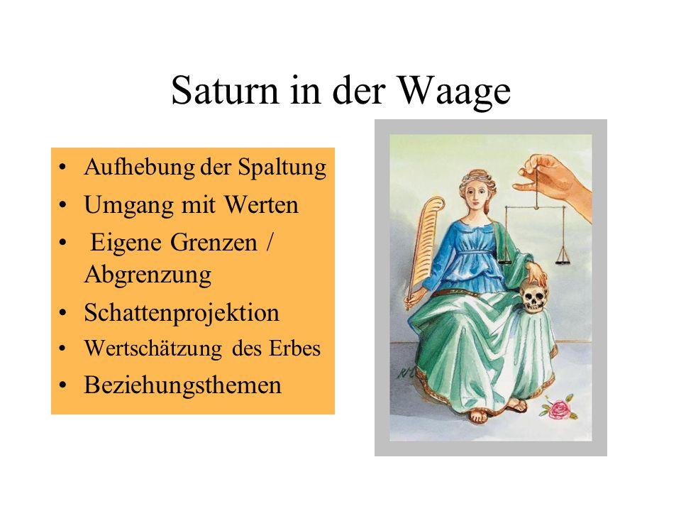 Saturn in der Waage Aufhebung der Spaltung Umgang mit Werten Eigene Grenzen / Abgrenzung Schattenprojektion Wertschätzung des Erbes Beziehungsthemen