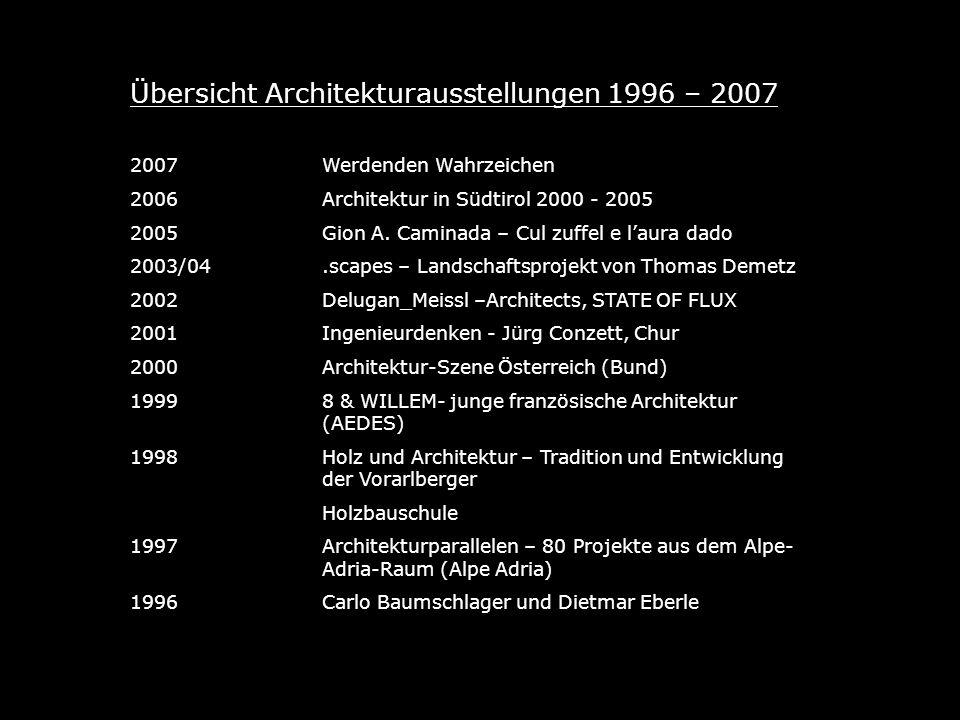 Übersicht Architekturausstellungen 1996 – 2007 2007Werdenden Wahrzeichen 2006Architektur in Südtirol 2000 - 2005 2005Gion A.
