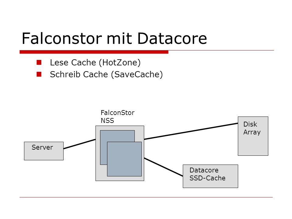 Falconstor mit Datacore Lese Cache (HotZone) Schreib Cache (SaveCache) Server Disk Array Datacore SSD-Cache FalconStor NSS