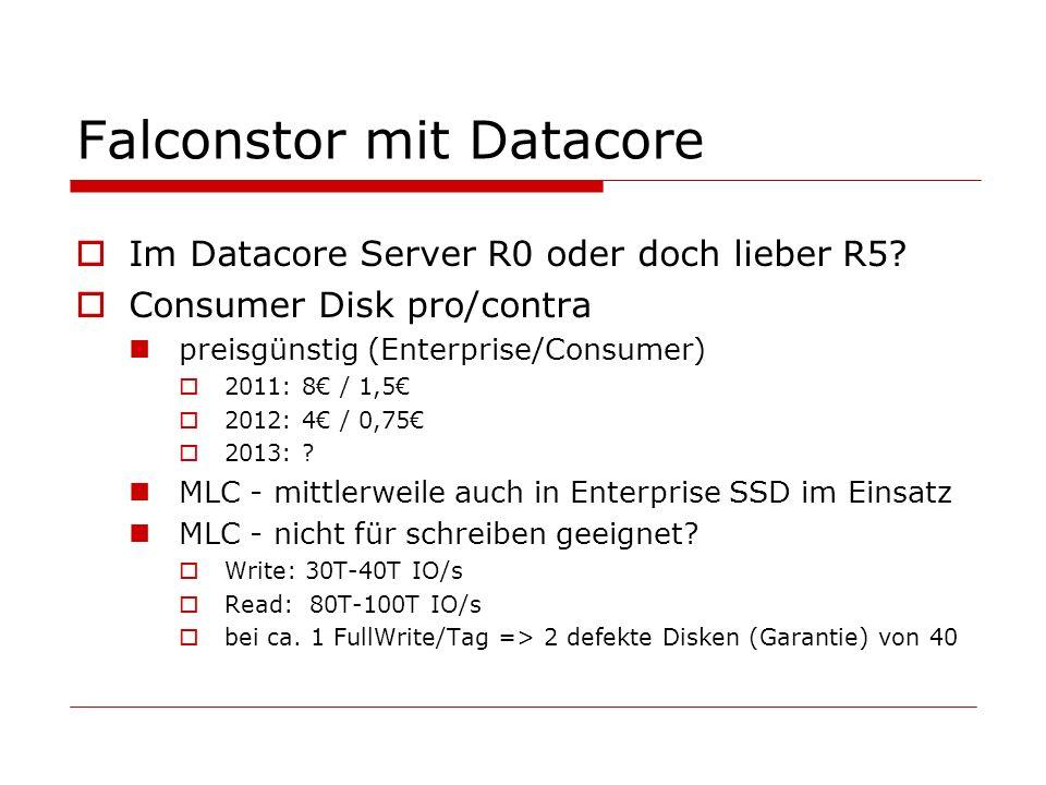 Falconstor mit Datacore Im Datacore Server R0 oder doch lieber R5.