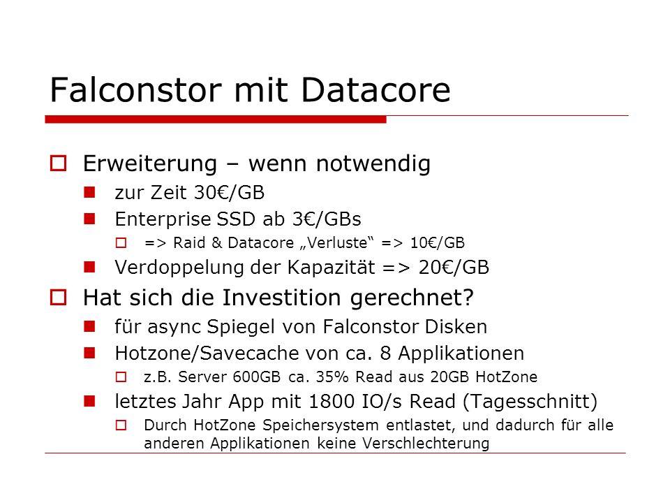 Falconstor mit Datacore Erweiterung – wenn notwendig zur Zeit 30/GB Enterprise SSD ab 3/GBs => Raid & Datacore Verluste => 10/GB Verdoppelung der Kapazität => 20/GB Hat sich die Investition gerechnet.