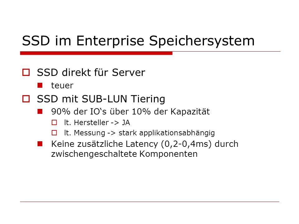 SSD im Enterprise Speichersystem SSD direkt für Server teuer SSD mit SUB-LUN Tiering 90% der IOs über 10% der Kapazität lt.