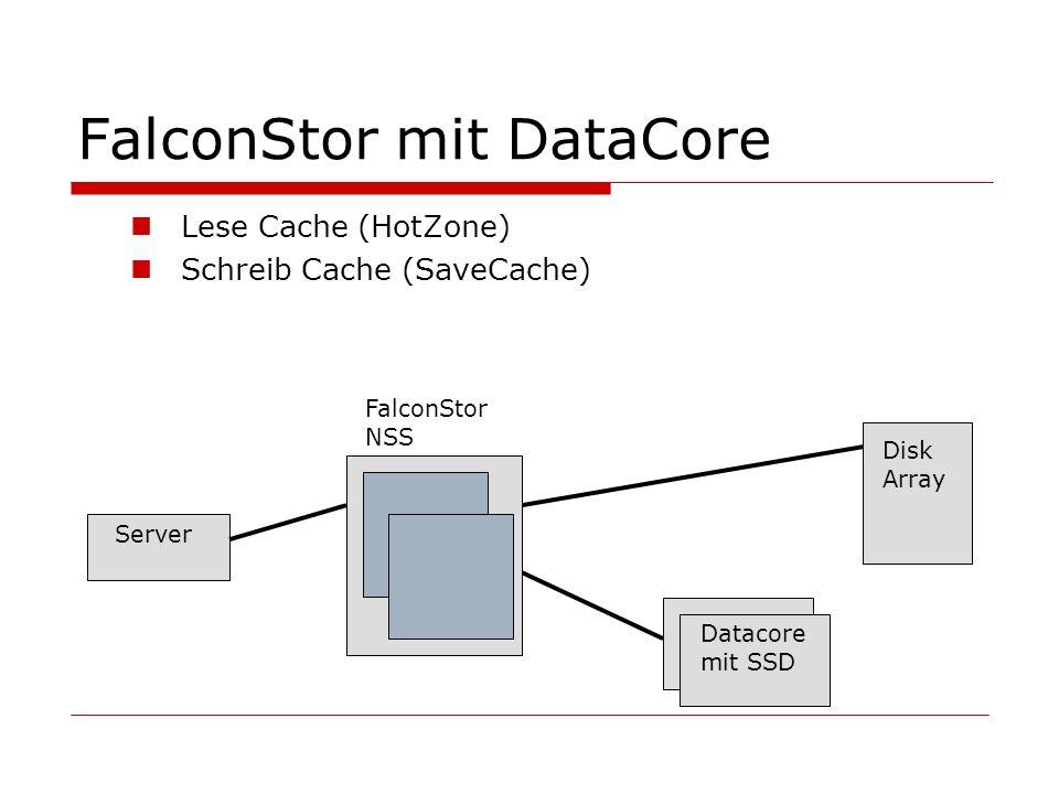 FalconStor mit DataCore Lese Cache (HotZone) Schreib Cache (SaveCache) Server Disk Array FalconStor NSS Datacore mit SSD