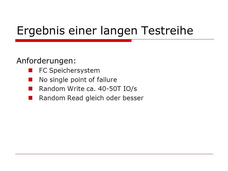 Ergebnis einer langen Testreihe Anforderungen: FC Speichersystem No single point of failure Random Write ca.