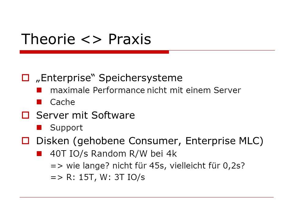 Theorie <> Praxis Enterprise Speichersysteme maximale Performance nicht mit einem Server Cache Server mit Software Support Disken (gehobene Consumer, Enterprise MLC) 40T IO/s Random R/W bei 4k => wie lange.