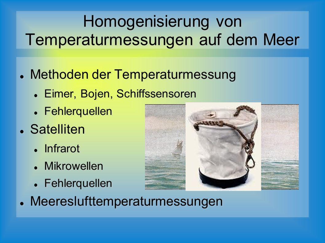 Methoden der Temperaturmessung Eimer, Bojen, Schiffssensoren Fehlerquellen Satelliten Infrarot Mikrowellen Fehlerquellen Meereslufttemperaturmessungen Methoden der Temperaturmessung Eimer, Bojen, Schiffssensoren Fehlerquellen Satelliten Infrarot Mikrowellen Fehlerquellen Meereslufttemperaturmessungen