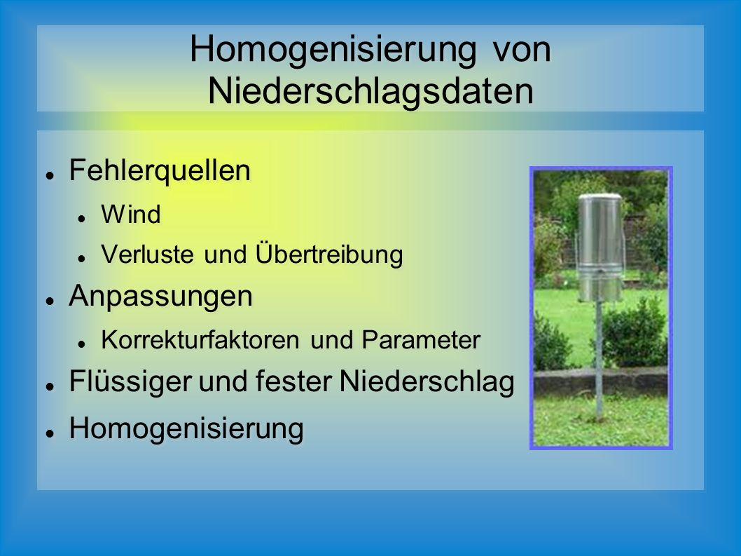 Fehlerquellen Wind Verluste und Übertreibung Anpassungen Korrekturfaktoren und Parameter Flüssiger und fester Niederschlag Homogenisierung Fehlerquellen Wind Verluste und Übertreibung Anpassungen Korrekturfaktoren und Parameter Flüssiger und fester Niederschlag Homogenisierung