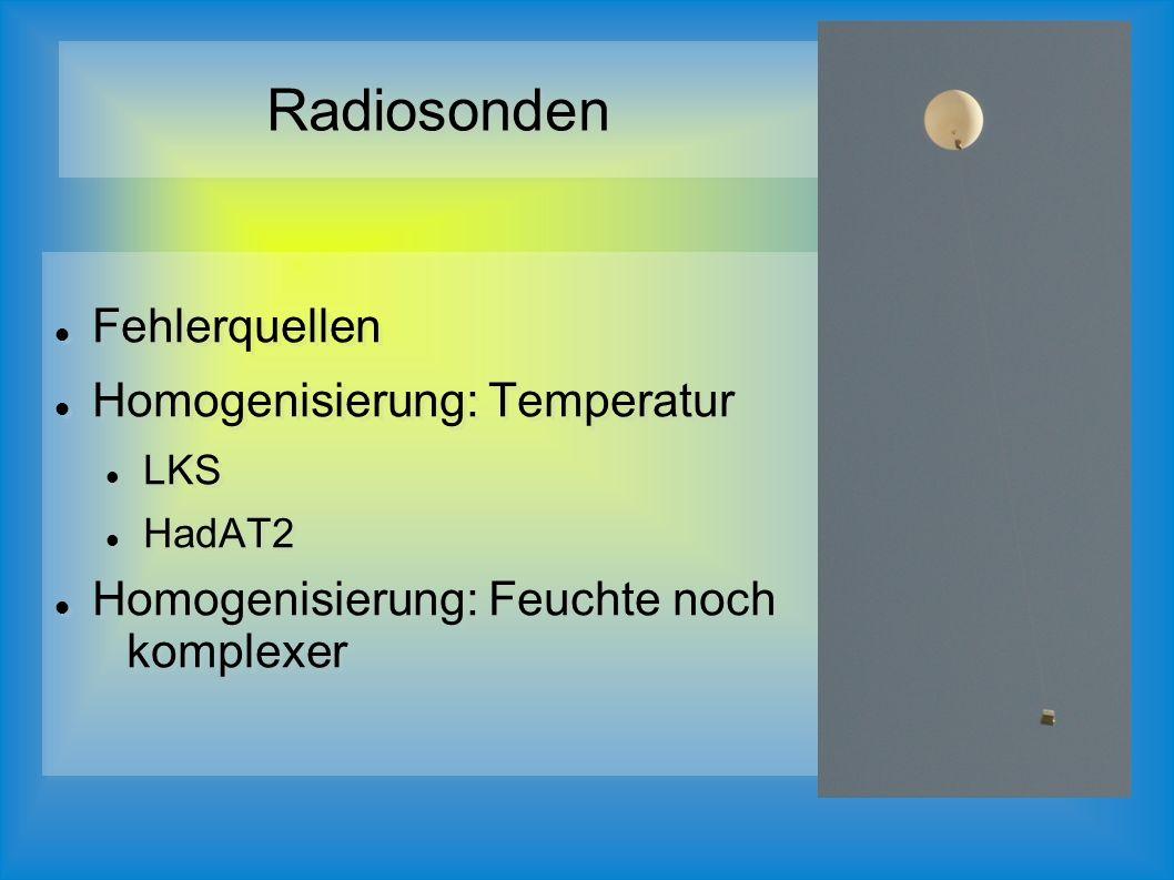 Fehlerquellen Homogenisierung: Temperatur LKS HadAT2 Homogenisierung: Feuchte noch komplexer Fehlerquellen Homogenisierung: Temperatur LKS HadAT2 Homogenisierung: Feuchte noch komplexer