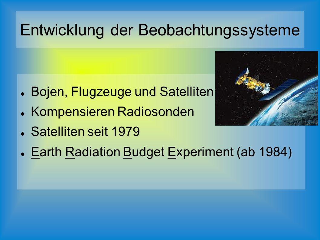 Bojen, Flugzeuge und Satelliten Kompensieren Radiosonden Satelliten seit 1979 Earth Radiation Budget Experiment (ab 1984) Bojen, Flugzeuge und Satelliten Kompensieren Radiosonden Satelliten seit 1979 Earth Radiation Budget Experiment (ab 1984)