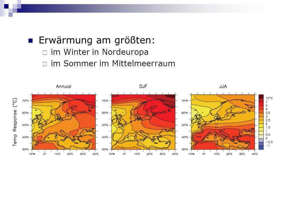 Erwärmung am größten: im Winter in Nordeuropa im Sommer im Mittelmeerraum