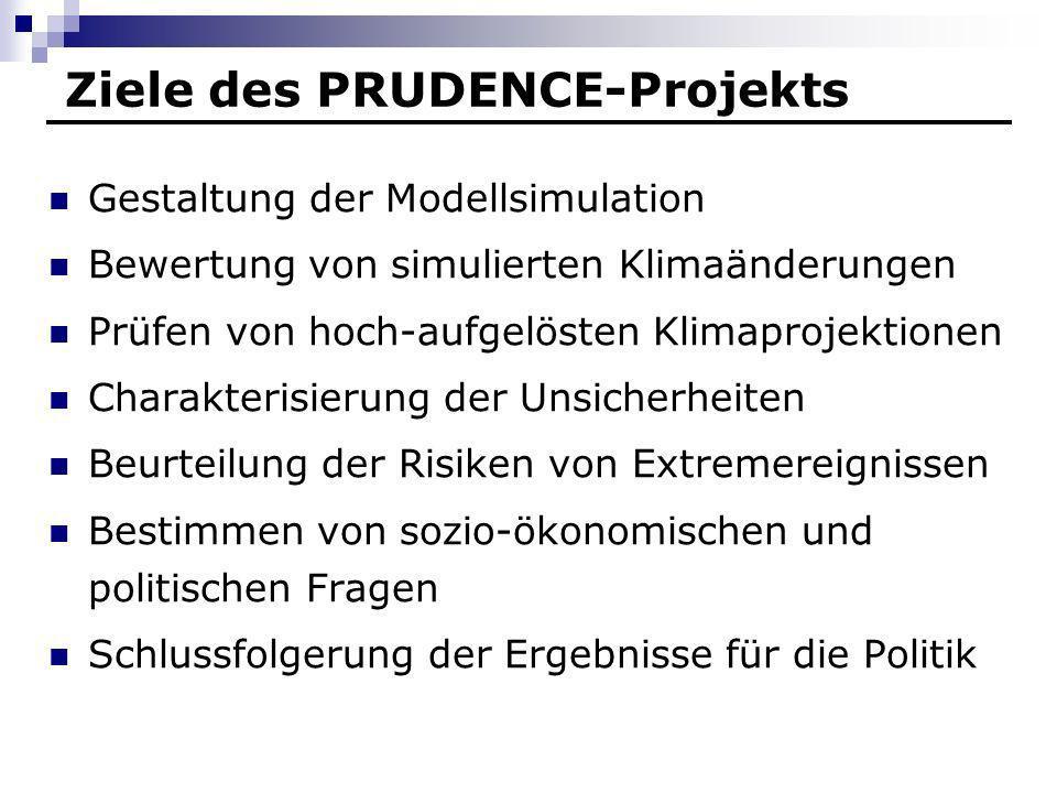 Ziele des PRUDENCE-Projekts Gestaltung der Modellsimulation Bewertung von simulierten Klimaänderungen Prüfen von hoch-aufgelösten Klimaprojektionen Ch