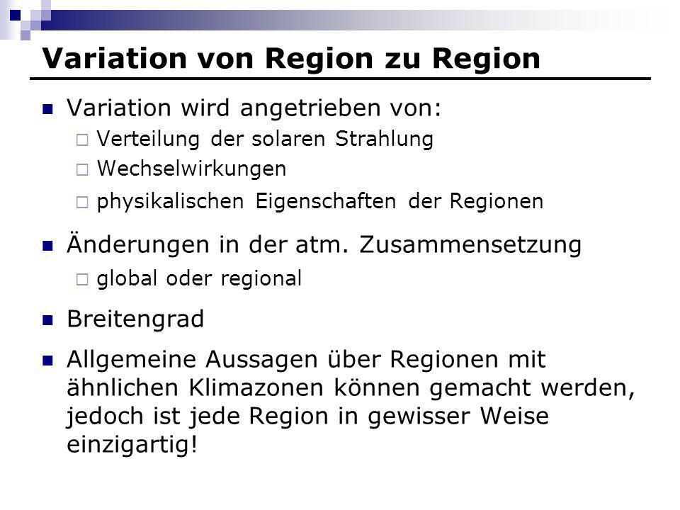 Variation von Region zu Region Variation wird angetrieben von: Verteilung der solaren Strahlung Wechselwirkungen physikalischen Eigenschaften der Regi