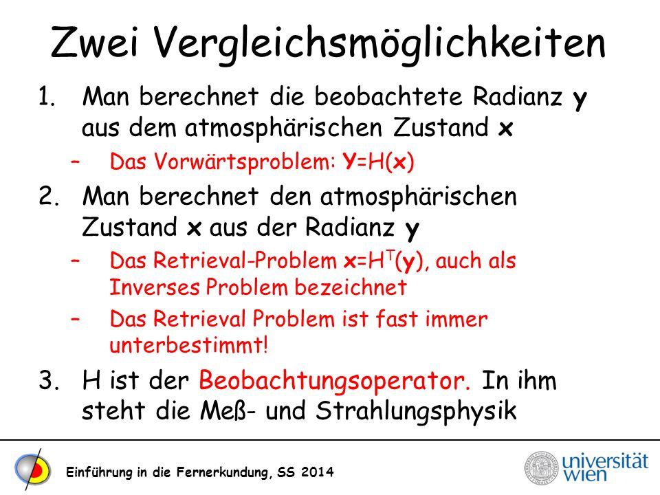 Einführung in die Fernerkundung, SS 2014 Zwei Vergleichsmöglichkeiten 1.Man berechnet die beobachtete Radianz y aus dem atmosphärischen Zustand x –Das