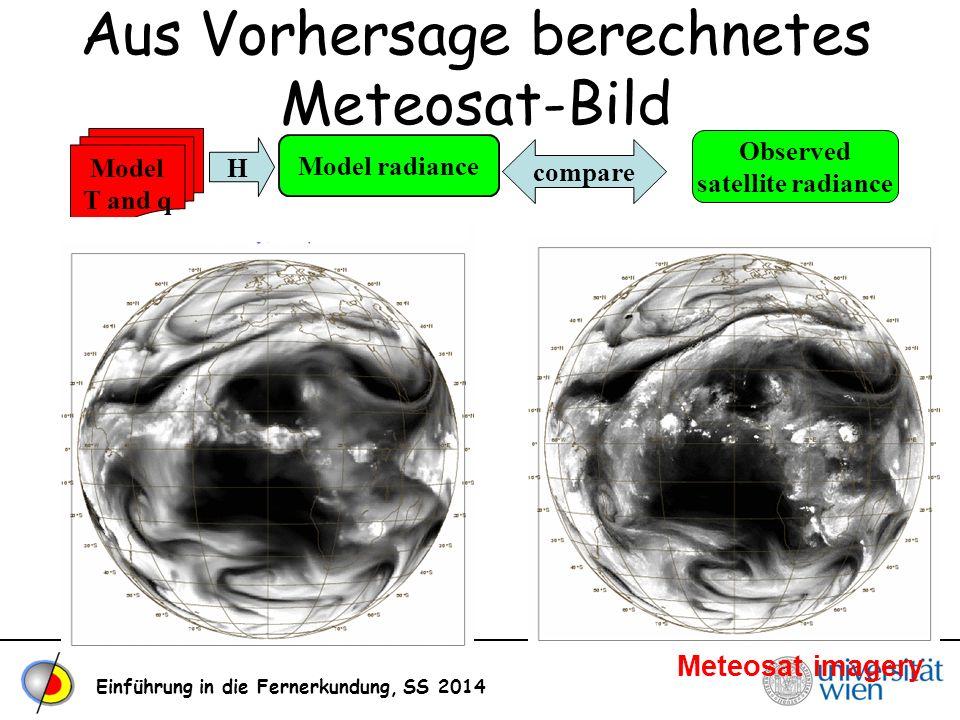 Einführung in die Fernerkundung, SS 2014 Aus Vorhersage berechnetes Meteosat-Bild Observed satellite radiance Model radiance Model T and q H compare M