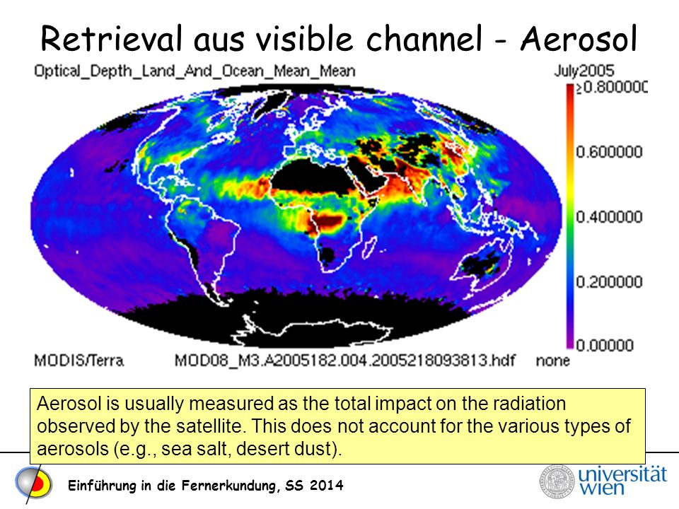 Einführung in die Fernerkundung, SS 2014 Retrieval aus visible channel - Aerosol Aerosol is usually measured as the total impact on the radiation obse