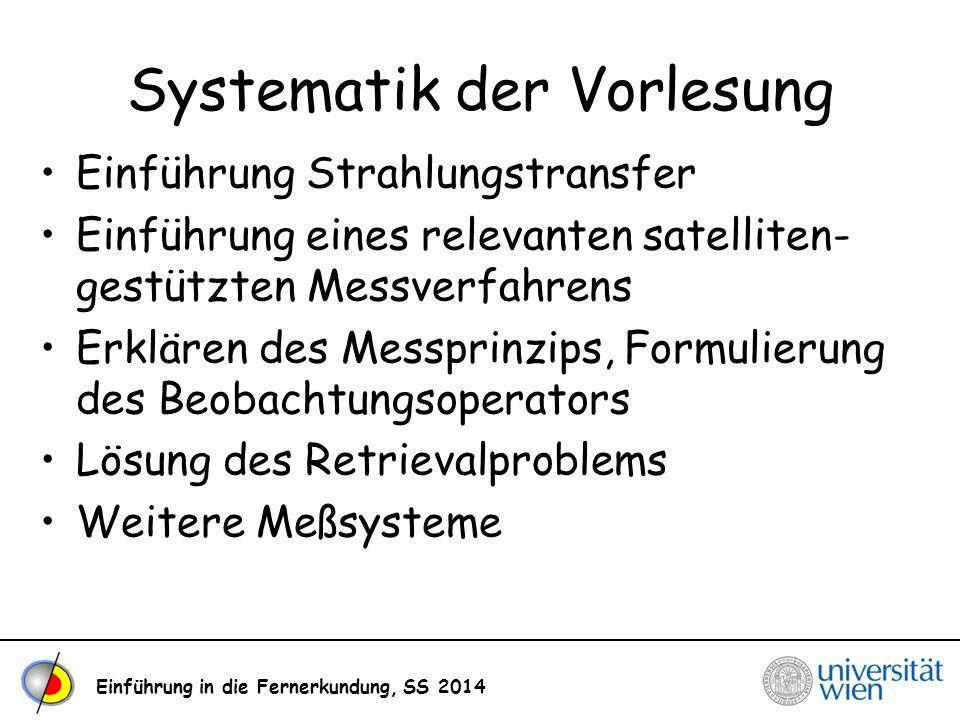 Einführung in die Fernerkundung, SS 2014 Systematik der Vorlesung Einführung Strahlungstransfer Einführung eines relevanten satelliten- gestützten Mes