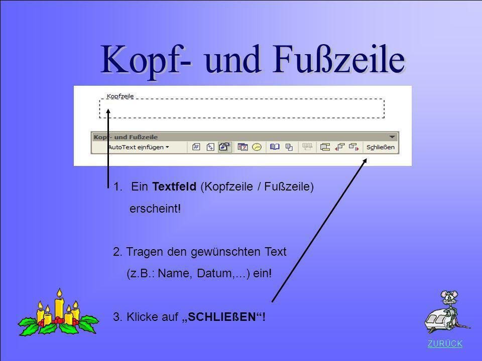 1.Ein Textfeld (Kopfzeile / Fußzeile) erscheint! 2. Tragen den gewünschten Text (z.B.: Name, Datum,...) ein! 3. Klicke auf SCHLIEßEN! ZURÜCK