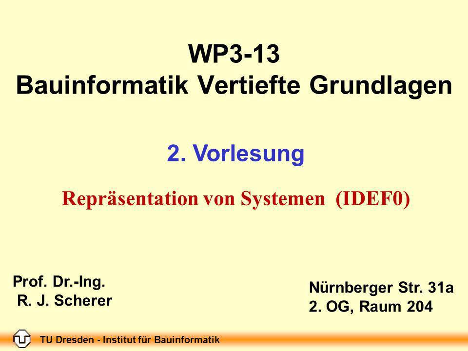 TU Dresden - Institut für Bauinformatik Folie-Nr.: 1 WP3-13 Bauinformatik Vertiefte Grundlagen 2.