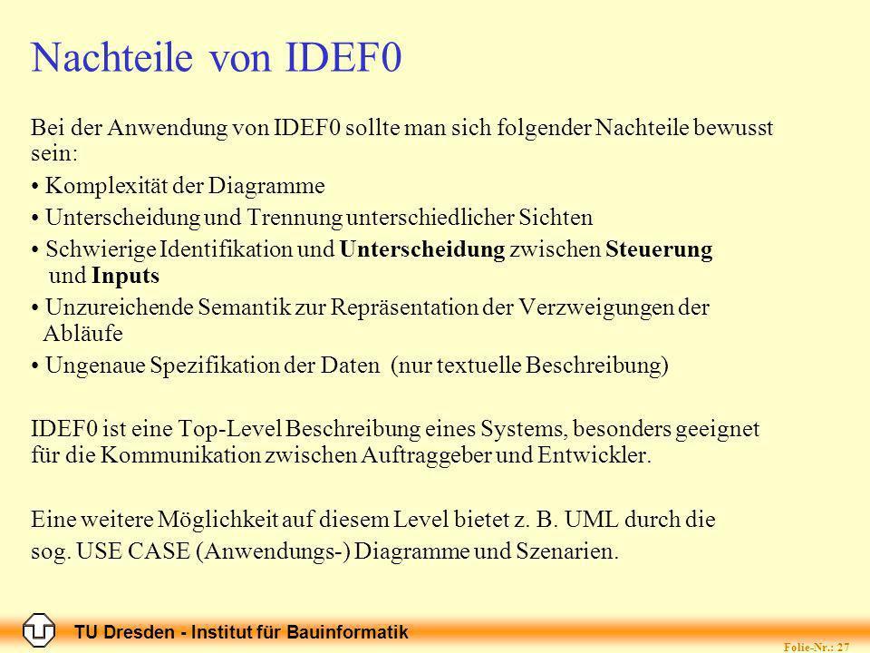TU Dresden - Institut für Bauinformatik Folie-Nr.: 27 Nachteile von IDEF0 Bei der Anwendung von IDEF0 sollte man sich folgender Nachteile bewusst sein: Komplexität der Diagramme Unterscheidung und Trennung unterschiedlicher Sichten Schwierige Identifikation und Unterscheidung zwischen Steuerung und Inputs Unzureichende Semantik zur Repräsentation der Verzweigungen der Abläufe Ungenaue Spezifikation der Daten (nur textuelle Beschreibung) IDEF0 ist eine Top-Level Beschreibung eines Systems, besonders geeignet für die Kommunikation zwischen Auftraggeber und Entwickler.