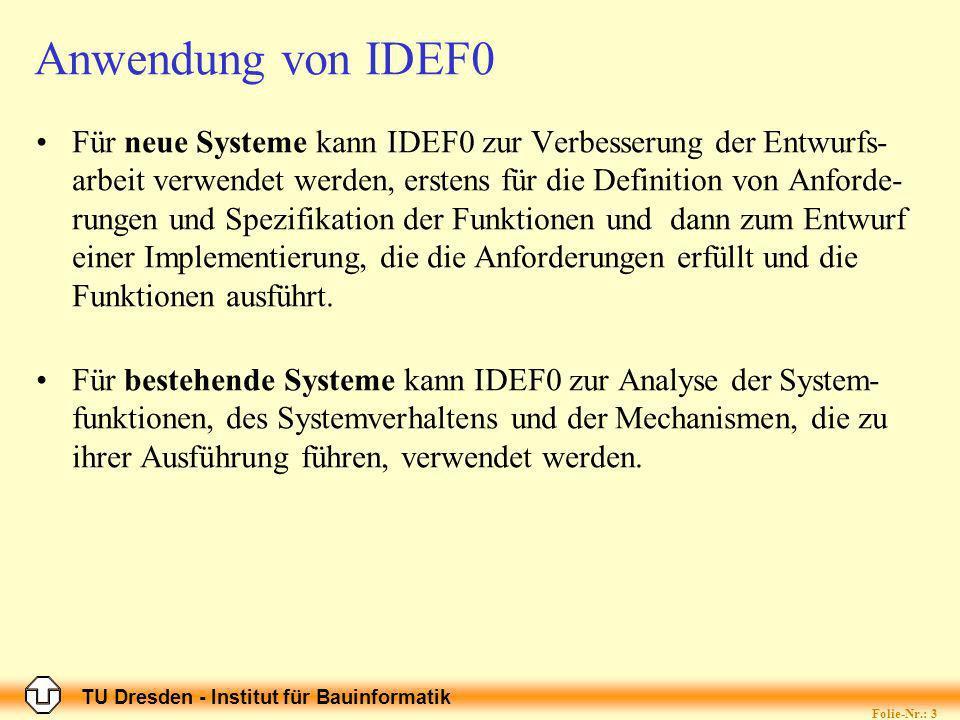 TU Dresden - Institut für Bauinformatik Folie-Nr.: 3 Anwendung von IDEF0 Für neue Systeme kann IDEF0 zur Verbesserung der Entwurfs- arbeit verwendet werden, erstens für die Definition von Anforde- rungen und Spezifikation der Funktionen und dann zum Entwurf einer Implementierung, die die Anforderungen erfüllt und die Funktionen ausführt.