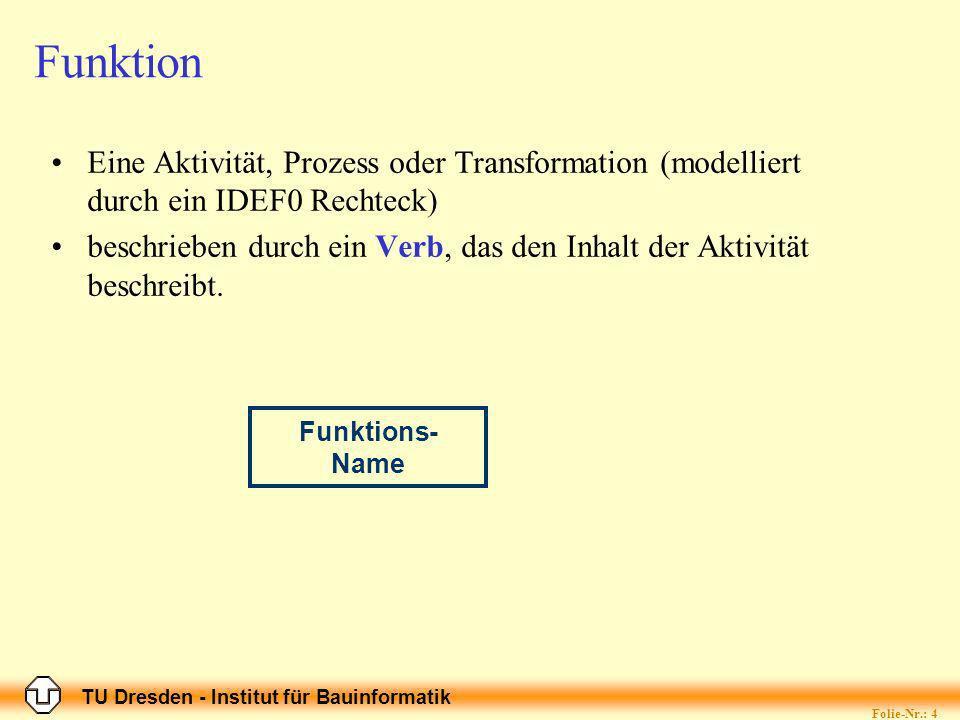 TU Dresden - Institut für Bauinformatik Folie-Nr.: 4 Funktion Eine Aktivität, Prozess oder Transformation (modelliert durch ein IDEF0 Rechteck) beschrieben durch ein Verb, das den Inhalt der Aktivität beschreibt.