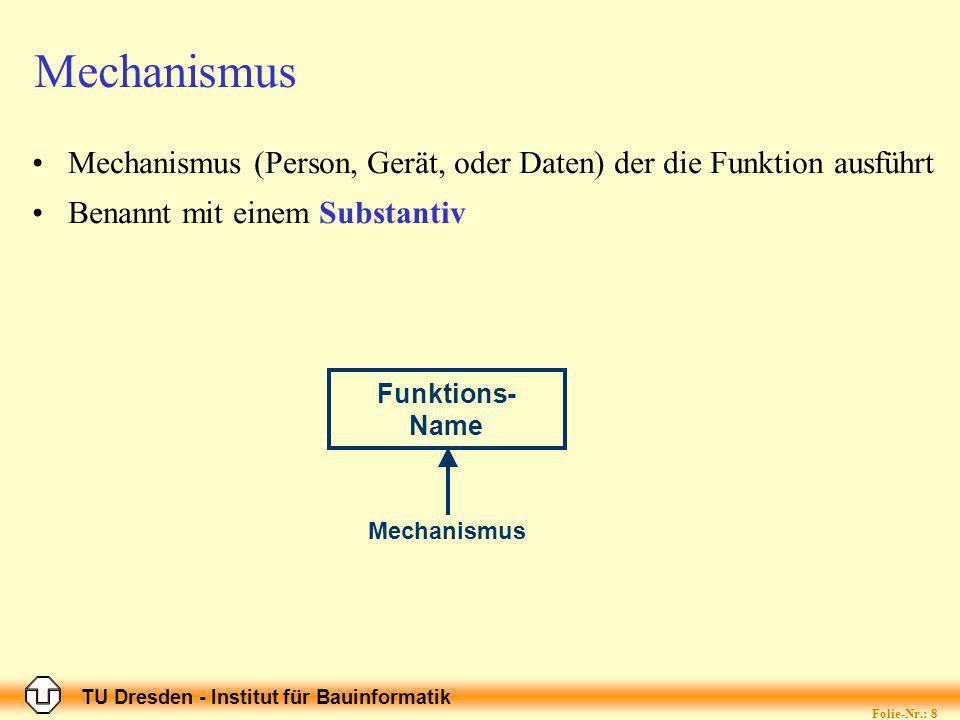TU Dresden - Institut für Bauinformatik Folie-Nr.: 8 Mechanismus Mechanismus (Person, Gerät, oder Daten) der die Funktion ausführt Benannt mit einem Substantiv Funktions- Name Mechanismus