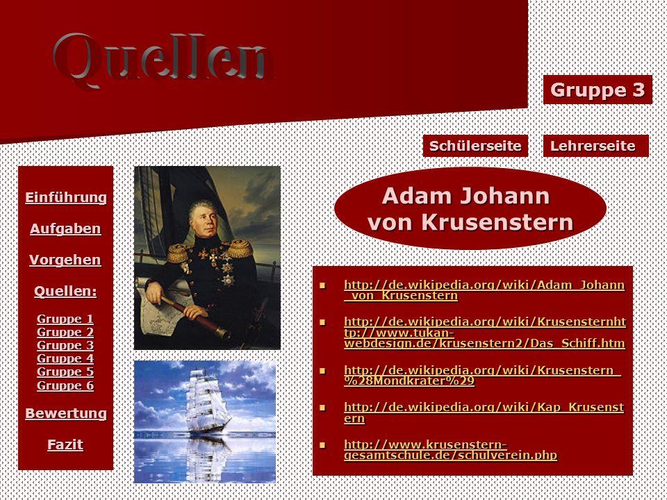 Gruppe 3 LehrerseiteSchülerseite EinführungAufgabenVorgehenQuellen: Gruppe 1 Gruppe 2 Gruppe 3 Gruppe 4 Gruppe 5 Gruppe 6 BewertungFazit Adam Johann v