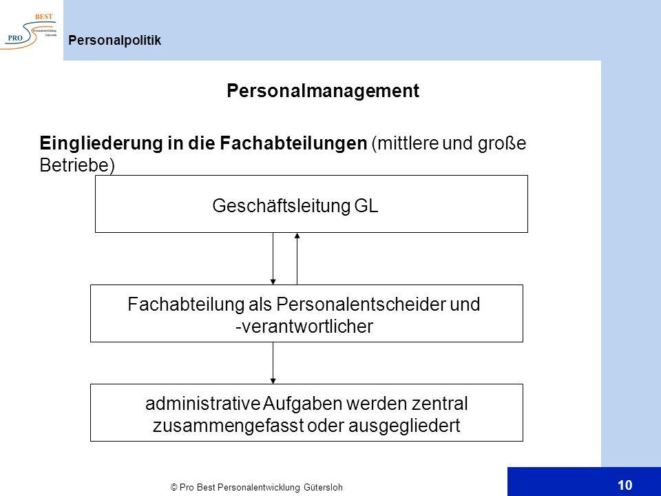 © Pro Best Personalentwicklung Gütersloh 10 Personalpolitik Personalmanagement Eingliederung in die Fachabteilungen (mittlere und große Betriebe) Gesc