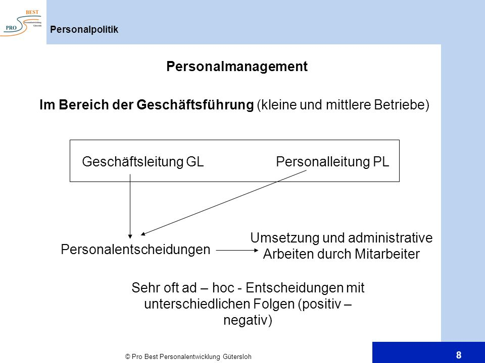 © Pro Best Personalentwicklung Gütersloh 8 Personalpolitik Personalmanagement Im Bereich der Geschäftsführung (kleine und mittlere Betriebe) Geschäfts