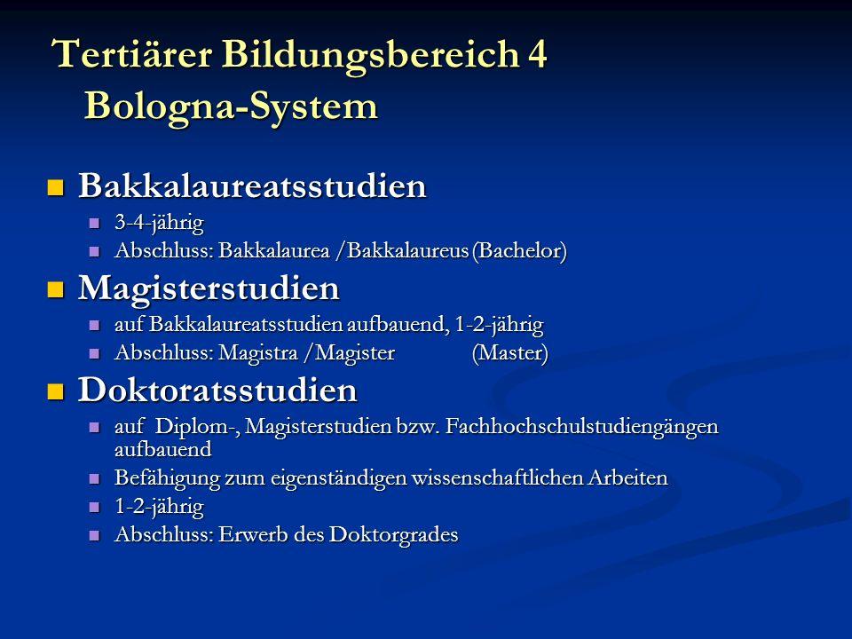 Tertiärer Bildungsbereich 4 Bologna-System Bakkalaureatsstudien Bakkalaureatsstudien 3-4-jährig 3-4-jährig Abschluss: Bakkalaurea /Bakkalaureus(Bachel