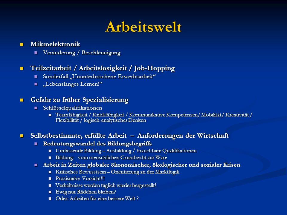 Arbeitswelt Mikroelektronik Mikroelektronik Veränderung / Beschleunigung Veränderung / Beschleunigung Teilzeitarbeit / Arbeitslosigkeit / Job-Hopping