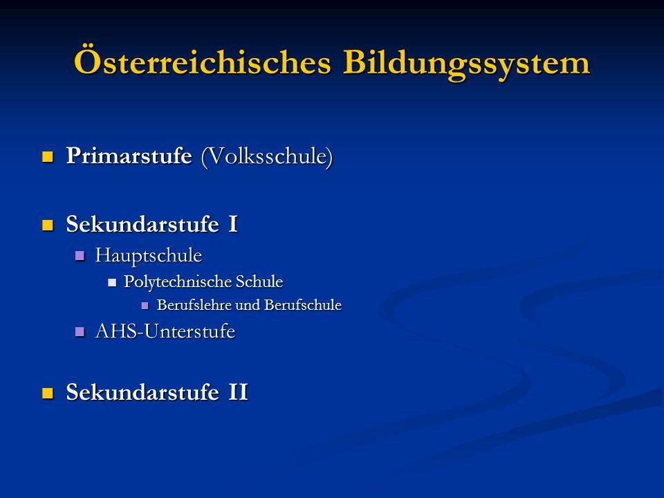 Österreichisches Bildungssystem Primarstufe (Volksschule) Primarstufe (Volksschule) Sekundarstufe I Sekundarstufe I Hauptschule Hauptschule Polytechni