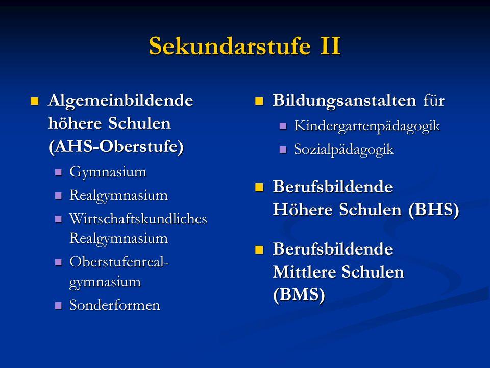 Sekundarstufe II Algemeinbildende höhere Schulen (AHS-Oberstufe) Algemeinbildende höhere Schulen (AHS-Oberstufe) Gymnasium Gymnasium Realgymnasium Rea