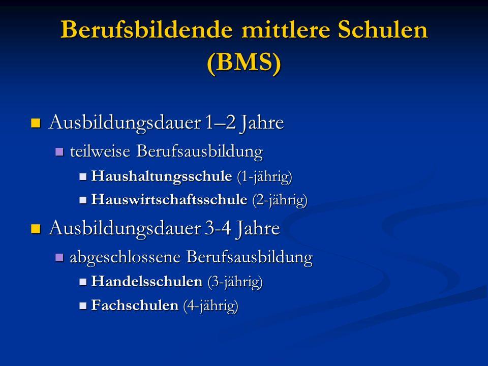 Berufsbildende mittlere Schulen (BMS) Ausbildungsdauer 1–2 Jahre Ausbildungsdauer 1–2 Jahre teilweise Berufsausbildung teilweise Berufsausbildung Haus