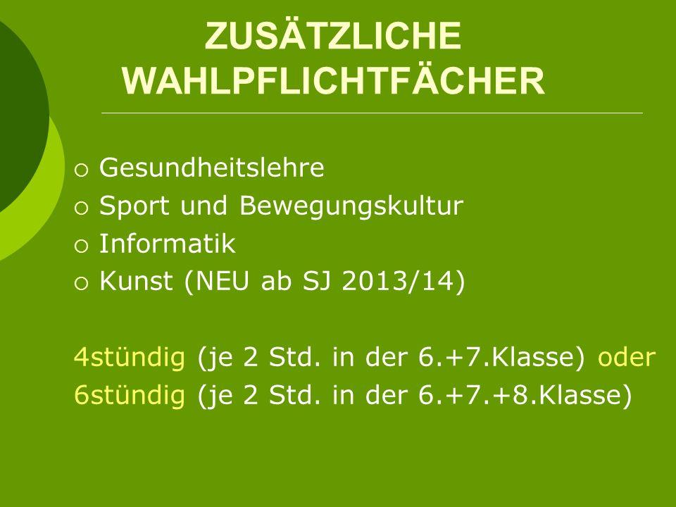 ZUSÄTZLICHE WAHLPFLICHTFÄCHER Gesundheitslehre Sport und Bewegungskultur Informatik Kunst (NEU ab SJ 2013/14) 4stündig (je 2 Std. in der 6.+7.Klasse)