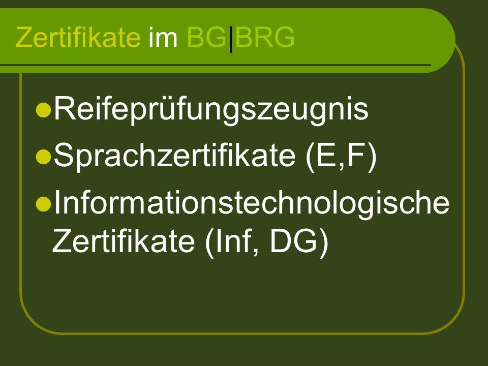 Zertifikate im BG|BRG Reifeprüfungszeugnis Sprachzertifikate (E,F) Informationstechnologische Zertifikate (Inf, DG)