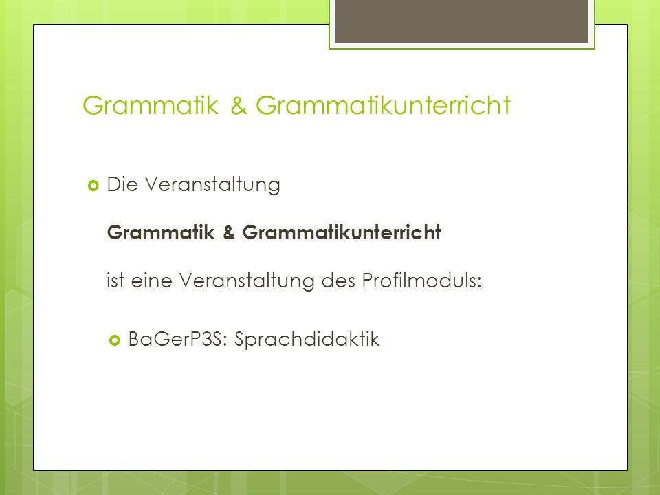 Grammatik & Grammatikunterricht Germanistik: BA Kernfach/Nebenfach (GHR) BA Kernfach/Nebenfach (GG) Master of Education (GHR) Master of Education (GG)